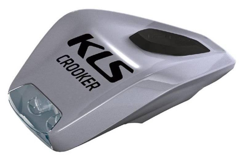 Фонарь диодный KELLYS CROOKER, передний, 2 диода, 2 режима, крепление на липучке, серебристый