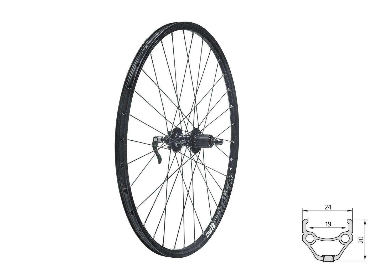 Колесо велосипедное заднее KELLYS KLS DRAFT DSC, 28/29, двойной обод 32Н, 8-10 скоростей, с эксцентриком, черное