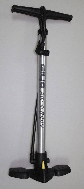 Насос велосипедный Giyo GF-32, напольный, Т-ручка, высокого давления, авто/вело переходник, серебро