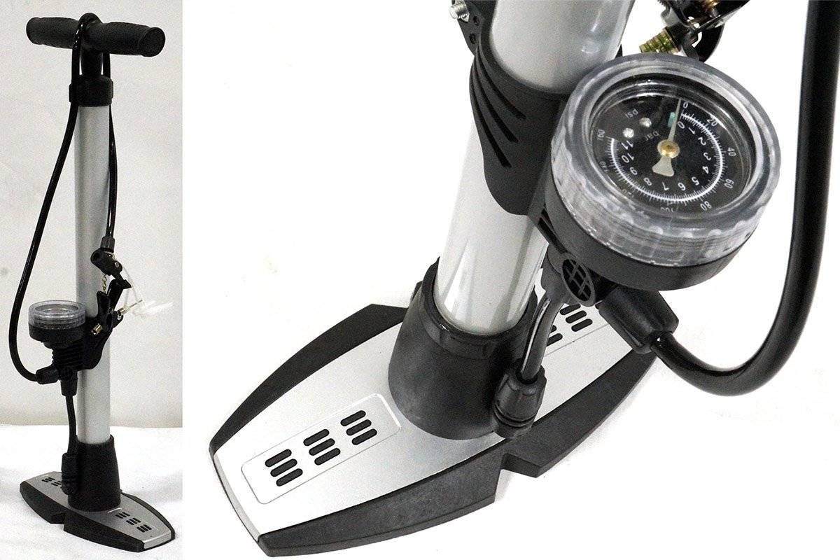 Насос велосипедный ZF-0804A, напольный, манометр,Т-ручка, высокого давления, авто/вело переходник