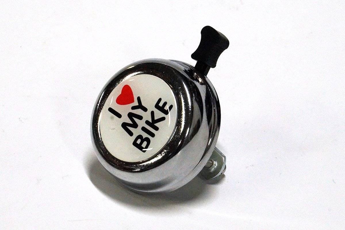 Звонок велосипедный JOY KIE 54BF-06 (I Love my Bike) стальной, стандартный